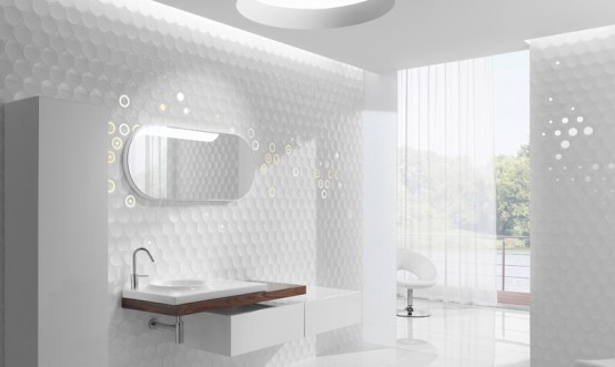 Amazing Futuristic Bathroom Wall Treatments