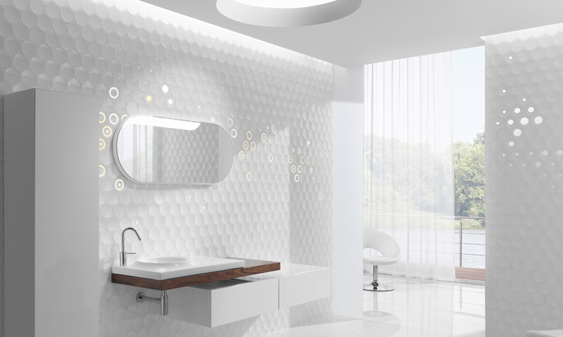 Futuristic Bathroom Wall Treatments And Cabinetry Cube