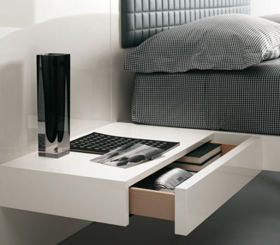 Futuristic bedroom set with suspended bed aladino up for Tables de nuit ikea