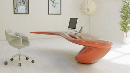 Futuristic Bright Office Desk Of Acryl