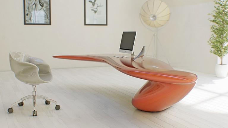 wonderful futuristic office desk   Futuristic Bright Office Desk Of Acryl   DigsDigs