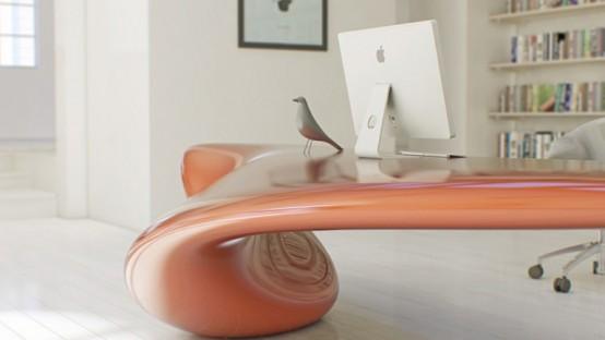 Futuristic Bright Office Desk Of Acryl  DigsDigs