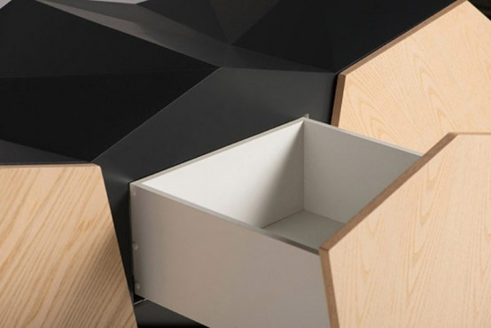 Futuristic Cabinet Of Walnut With Geometrical Lines
