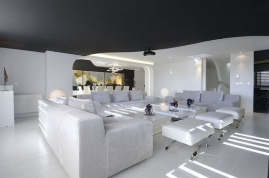Futuristic Duplex Design In White Tones