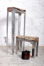 Futuristic Furniture Collection Of Molten Aluminum And Wood