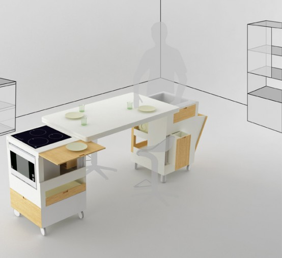 Futuristic Kitchen Concept for Small Room Layout – Rubica by Lodovico Bernardi