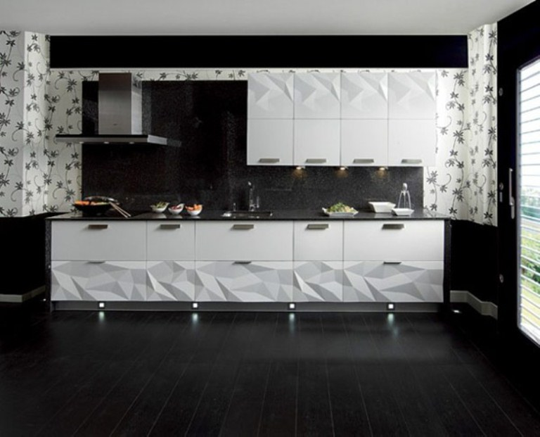 Futuristic kitchen design inspired by origami digsdigs for Kitchen decor inspiration
