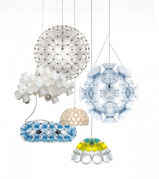Futuristic Lichtschlucker Lamps Made From Disposable Cups