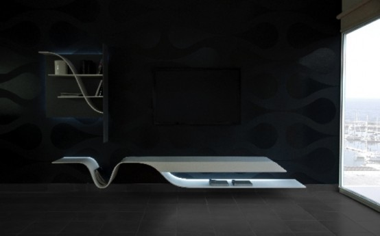marvellous futuristic living room design | Futuristic Melting Shelves For Your Living Room - DigsDigs