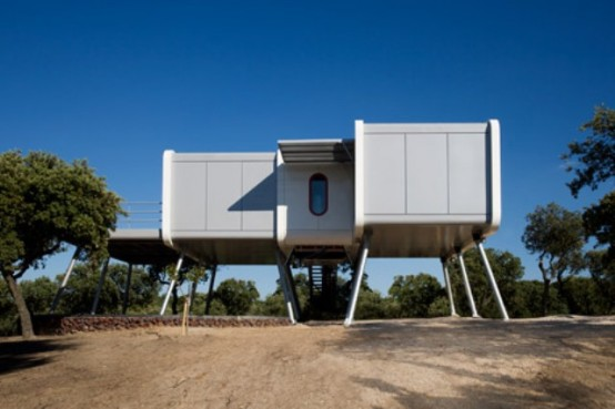 Futuristic Modular Spaceship Home On Metal Legs