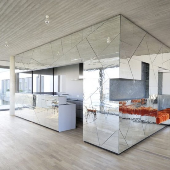 Futuristic penthouse with mirror walls digsdigs for Miroir adhesif rouleau