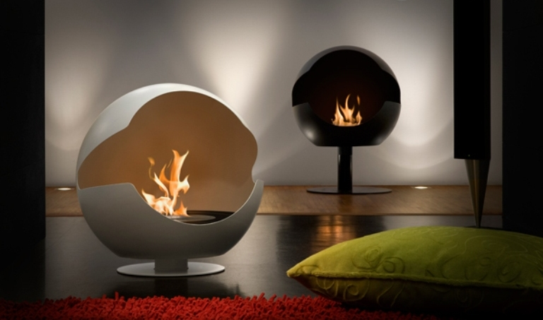 futuristic round bioethanol fireplace digsdigs. Black Bedroom Furniture Sets. Home Design Ideas