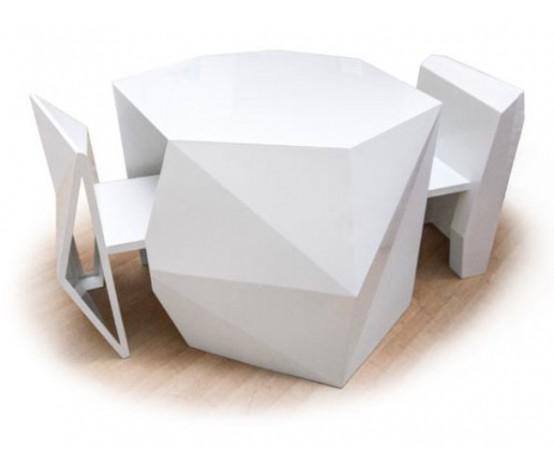 wonderful futuristic metal furniture design | Futuristic Table And Chairs To Hide In It - DigsDigs