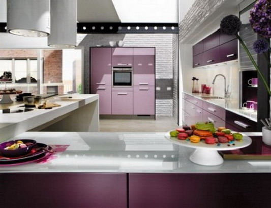 Futuristic Violet French Kitchen