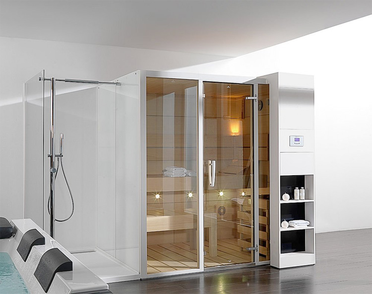 Luxury and futuristic home sauna gala from porcelanosa for Sauna home