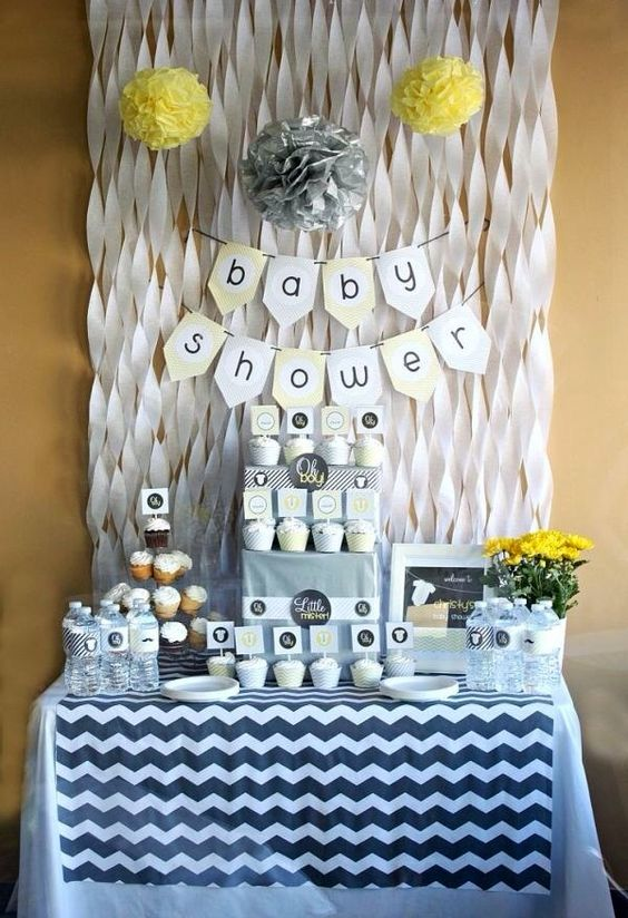 gender neutral modern baby shower decor