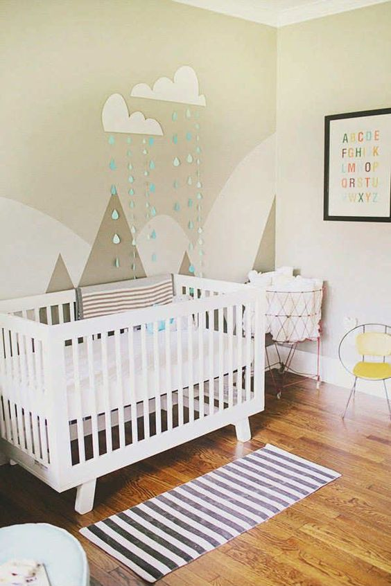 34 gender neutral nursery design ideas that excite digsdigs for Diy mountain mural