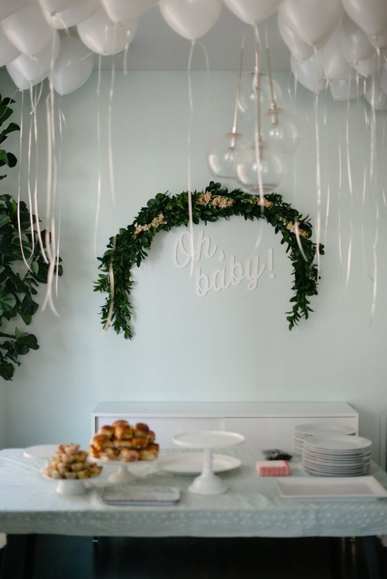 gender neutral white modern baby shower