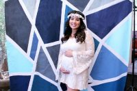 geometric backdrop for a boy baby shower