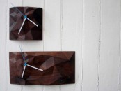Geometric Block Clock From Walnut And Marple