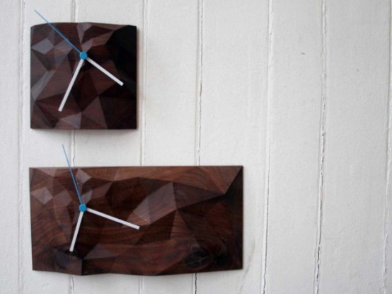 Geometric Block Clock From Walnut And Marple