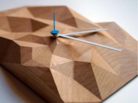 Geometric Block Clock From Walnut And Marple Digsdigs
