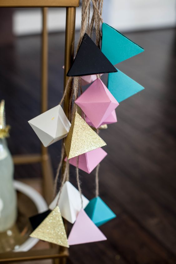 geometric decorations for a modern baby shower