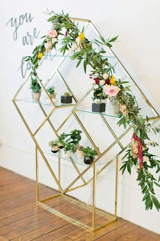 geometric floral decoration for a modern baby shower