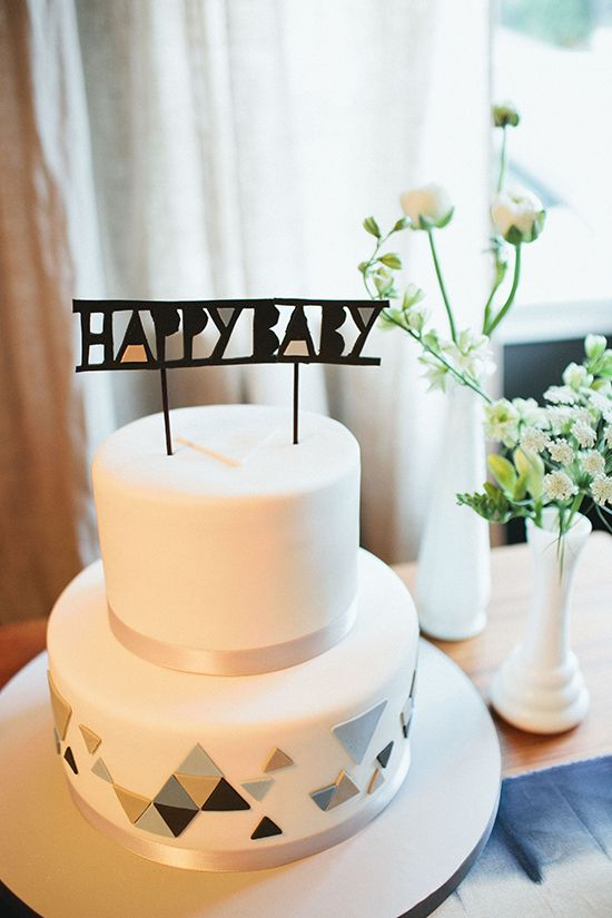 geometric gender neutral cake for a modern baby shower