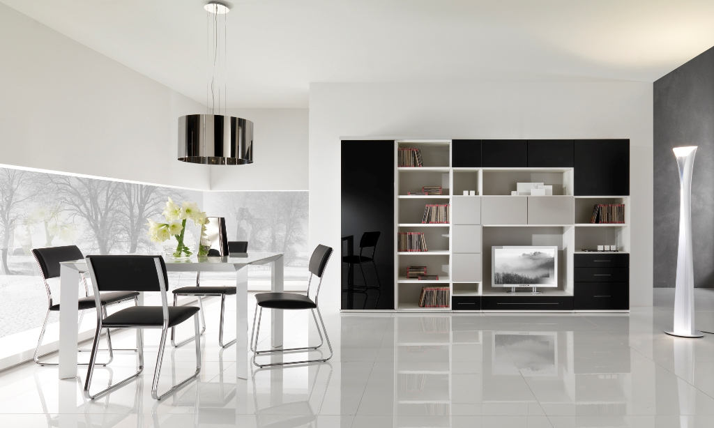 Modern black and white furniture for living room from for Living room tables