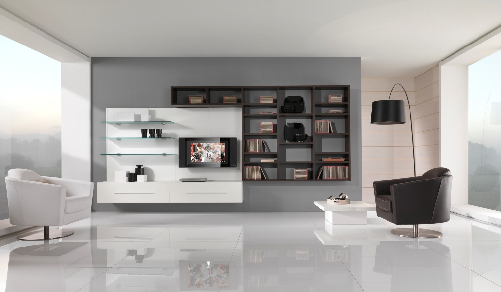 Living room design black and white