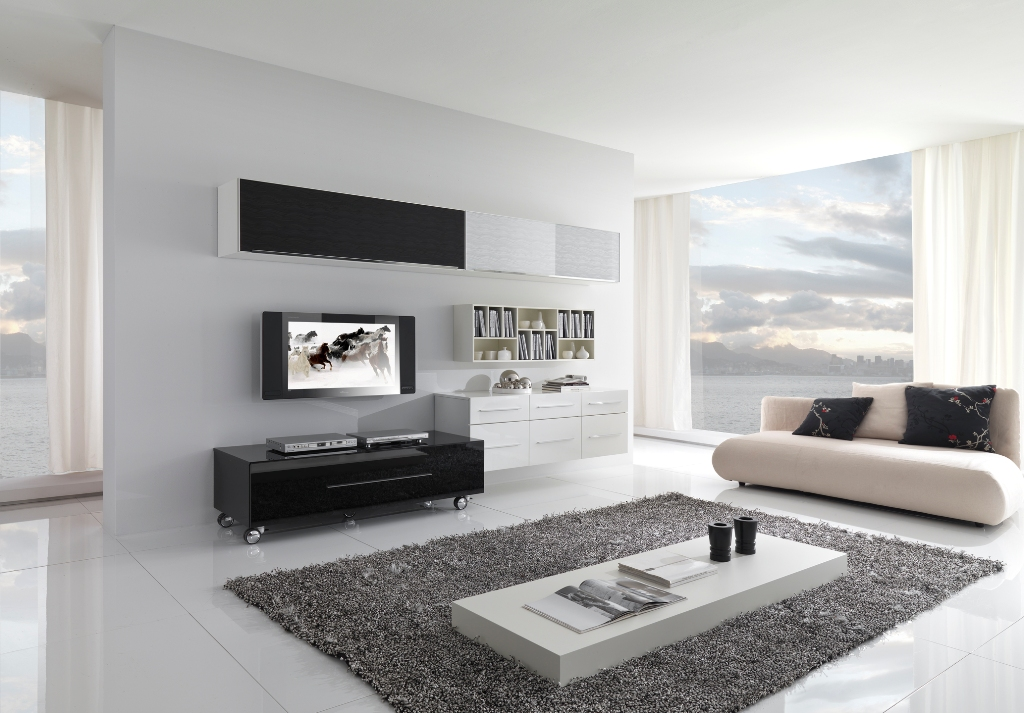 Creative bedroom ideas small bedroom light colors wall mounted tv - Modern Black And White Furniture For Living Room From