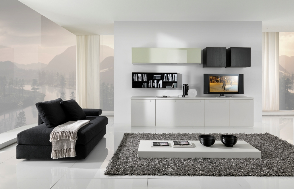 Modern black and white furniture for living room from for White minimalist living room