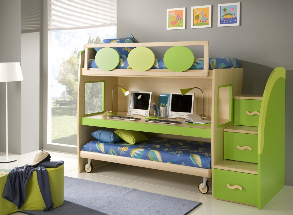 50 brilliant boys and girls room designs unoxtutti from for Bunk bed bedroom designs