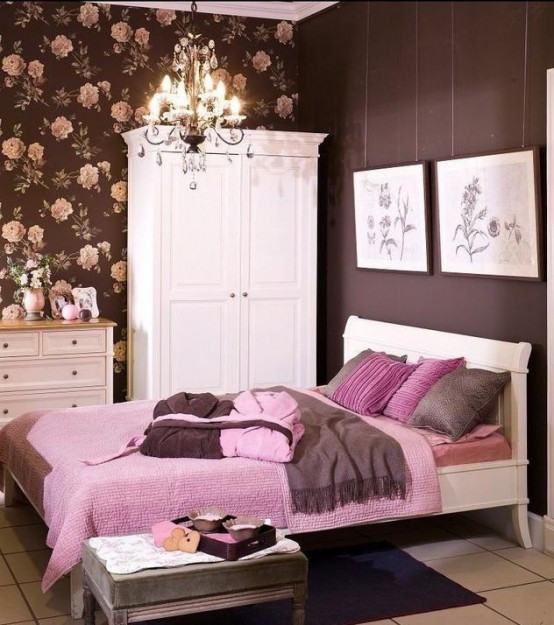 Girlish Pink And Chocolate Bedroom Design