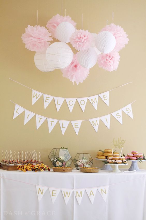 glam pastel  modern baby shower