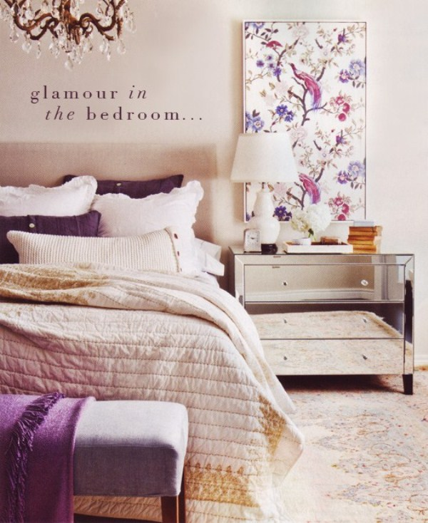 a neutral glam bedroom refreshed with floral prints and purple touches, neutral textiles and a mirror nightstand