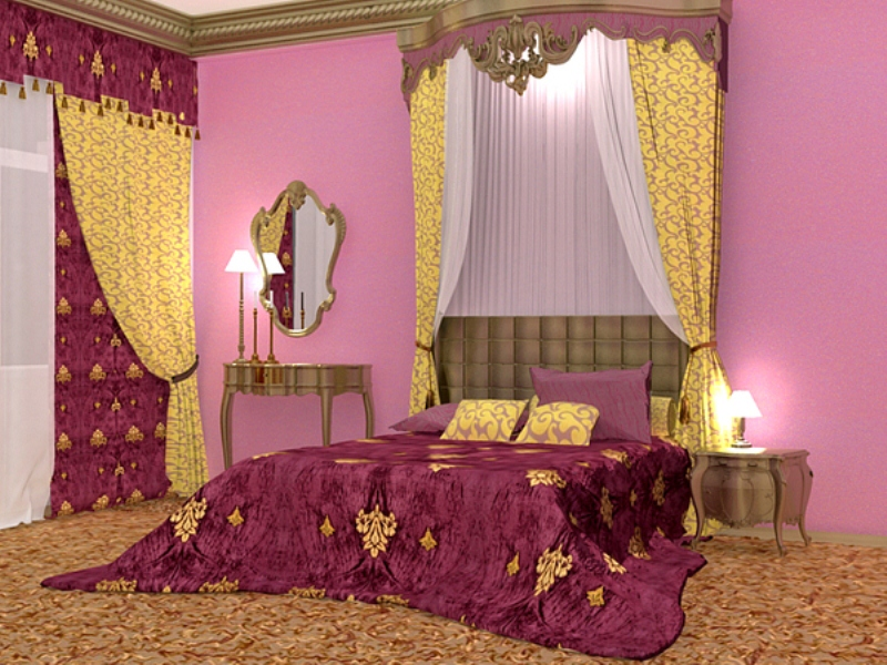 a glam purple, pink and gold glam bedroom with an upholstered bed, printed curtains and very elegant furniture