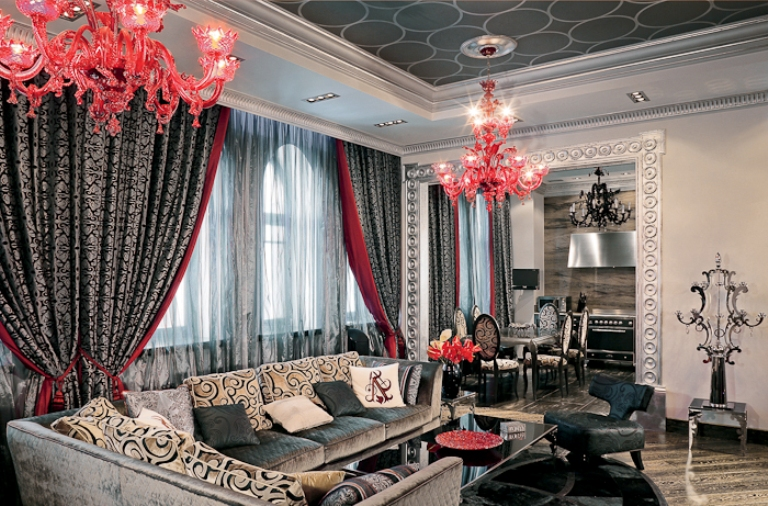 Glamour Apartment In Black And Red