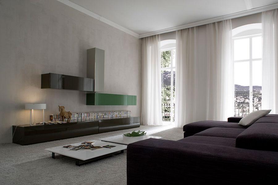 Glamour minimalist linear furniture by dall 39 agnese - Salones minimalistas ...