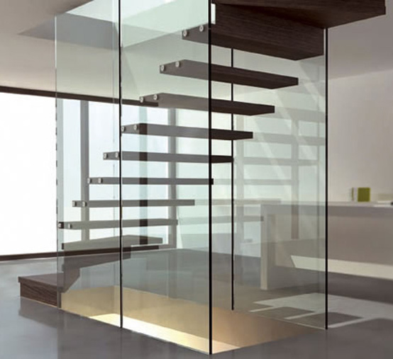 Glass And Stair Floating Design