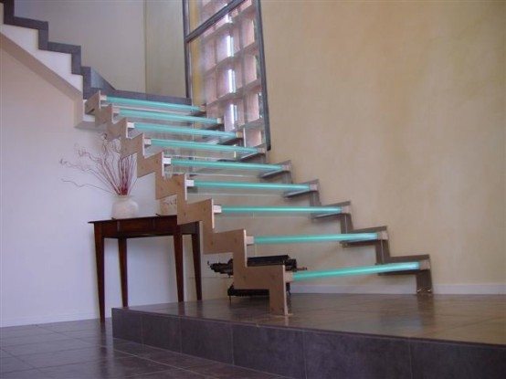 Glass Staircase With LEDs