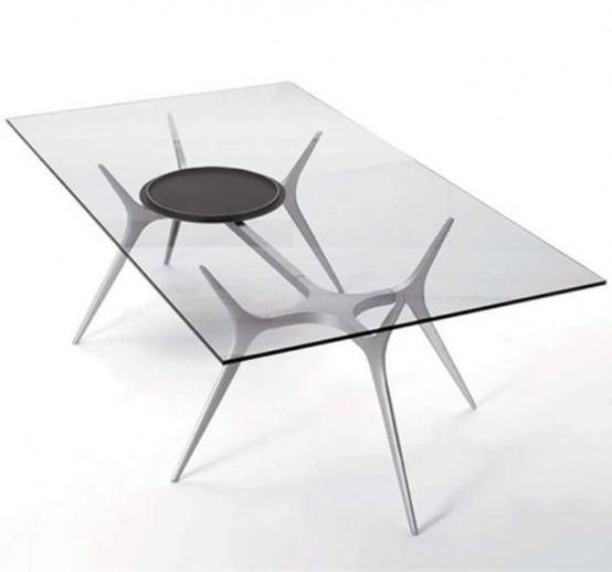 Cute Glass Top Dining Table With Spider Legs
