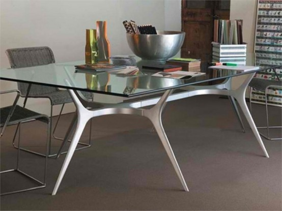 Superb Glass Top Dining Table With Spider Legs