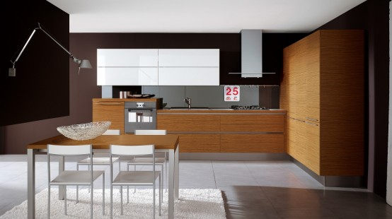 Glossy Black And White Kitchens With Wooden Elements