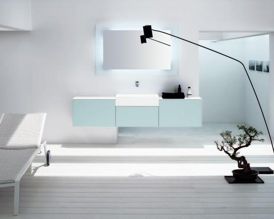 Glossy vanity for minimalist bathroom trenta5 by arlex italia