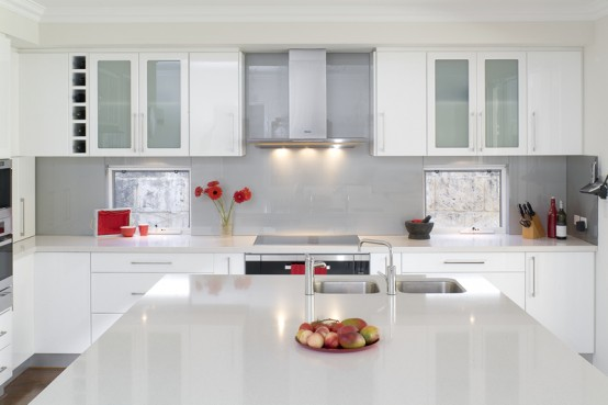 glossy white kitchen design