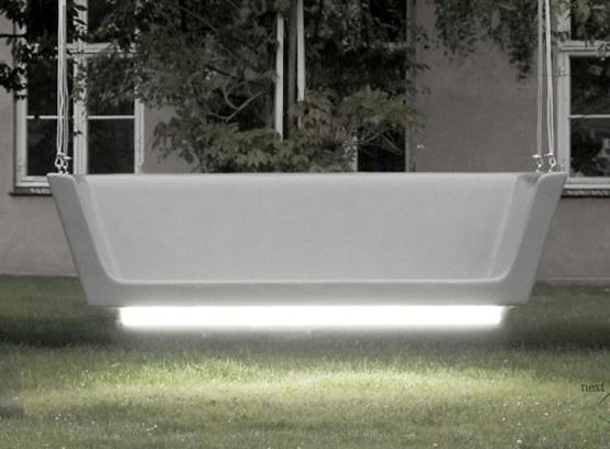 Hanging Glowing Bench for Modern Outdoor Areas