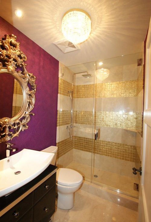 38 glam gold accents and accessories for your interior digsdigs Purple and gold bathroom accessories