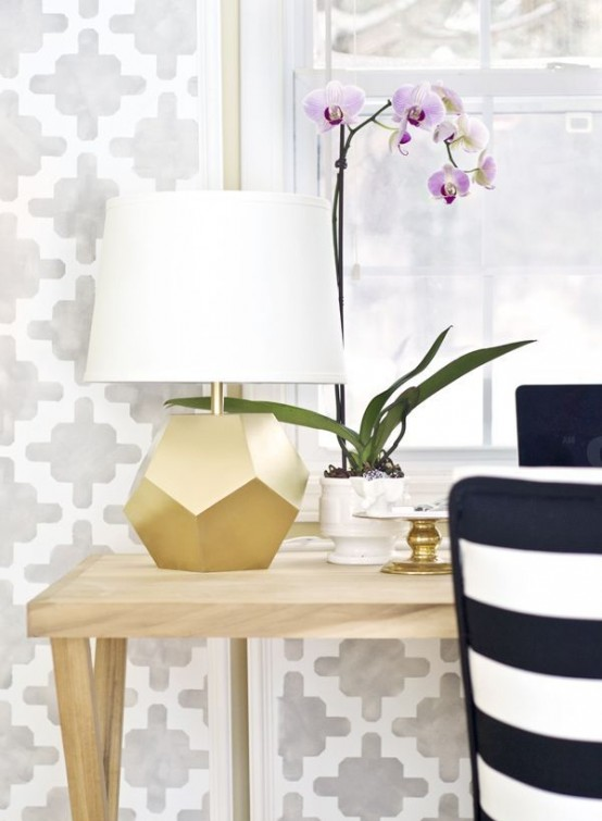a gold faceted lamps with a white lampshade is a very cool and lovely idea to glam up the space